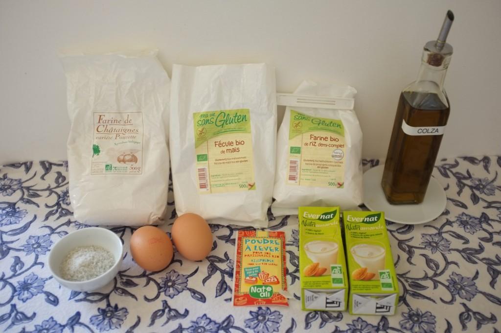 Les ingrédients sans gluten pour les crêpes à la châtaigne.