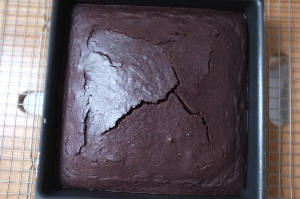 Le gâteau sans gluten au chocolat café pour Damien à la sortie du four