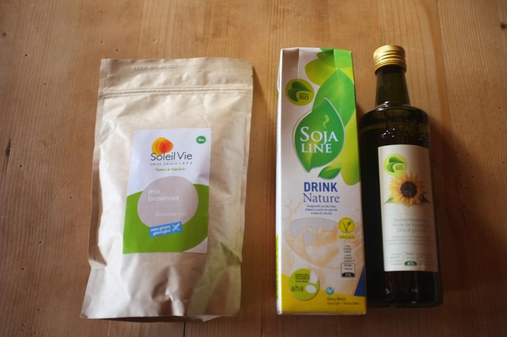Les ingrédients sans gluten et Bio pour la recette de Brownie de Soleil Vie