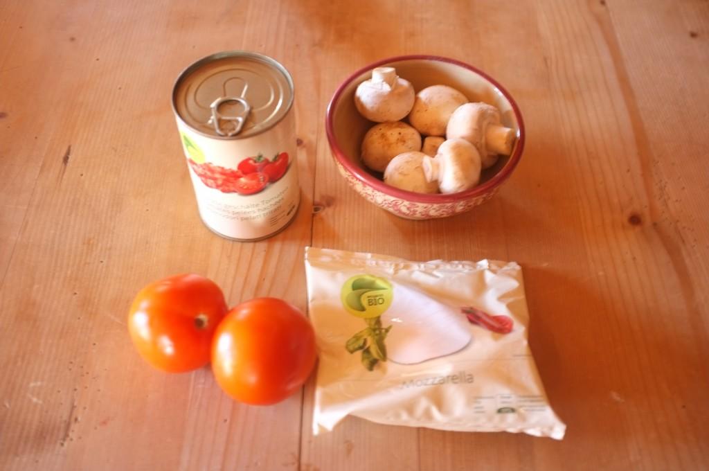 Les ingrédients pour la sauce à pizza. Pas sur la photo, j'ai ajouter de l'ail, un oignon jaune et du parmesan râpé pour donner du goût aux tomates de montagne