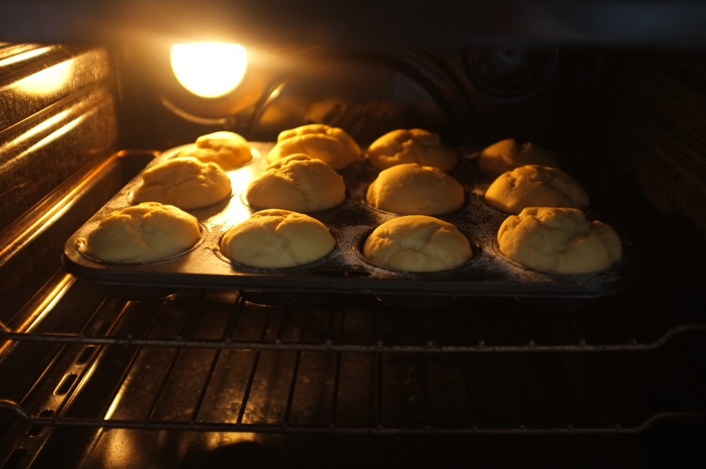 Les petits pains de table sans gluten lèvent dans le four tiède