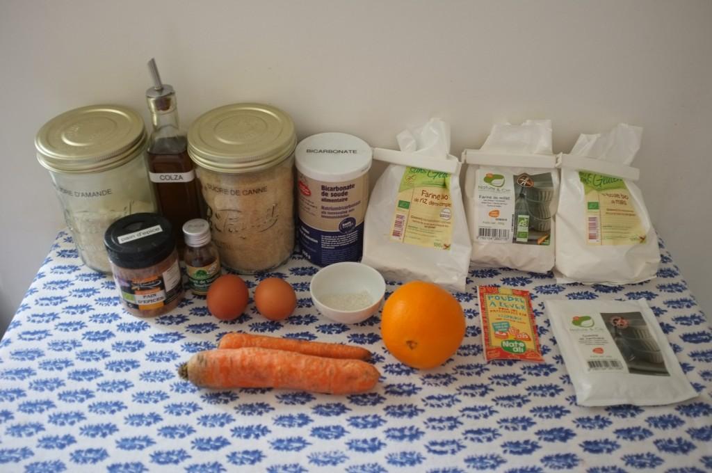 Les ingrédients sans gluten pour les cupcakes à la carotte pour Pâques 2015