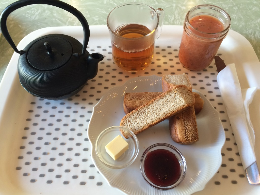 Le plateau du petit déjeuner sans gluten de Chambelland