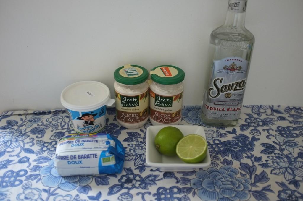 Les ingrdéients sans gluten pour la crème au beurre au citron vert. Pour ceux qui aiment, il est possible d'ajouter un peu de Tequila