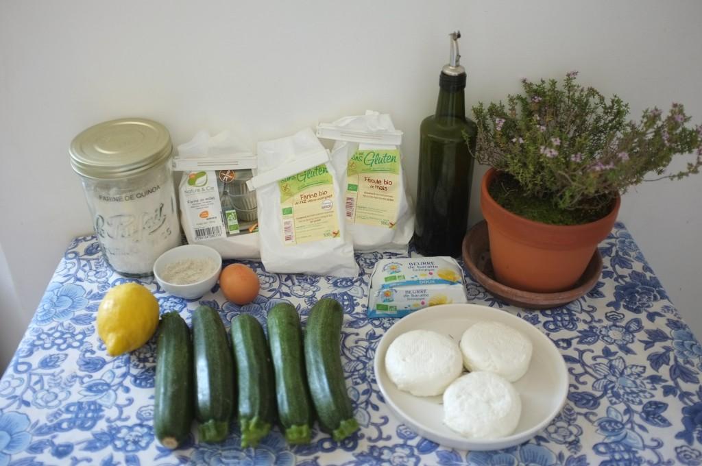 Les ingrédients sans gluten pour la tarte courgette et fromage de chèvre frais