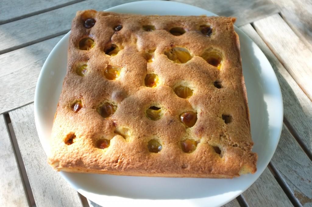 le gâteau sans gluten aux prunes jaunes pour le goûter.