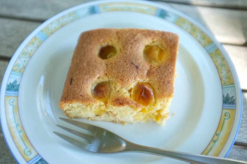 Le gâteau sans gluten ni lactose aux prunes jaunes