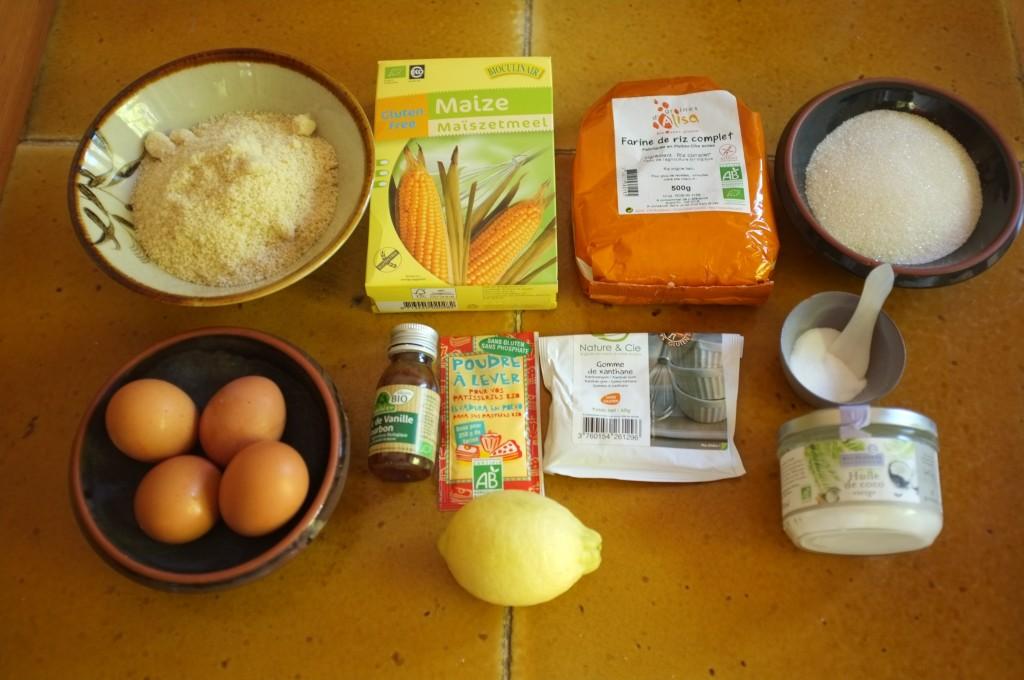 Les ingrédients sans gluten et sans lactose pour ce cake au citron