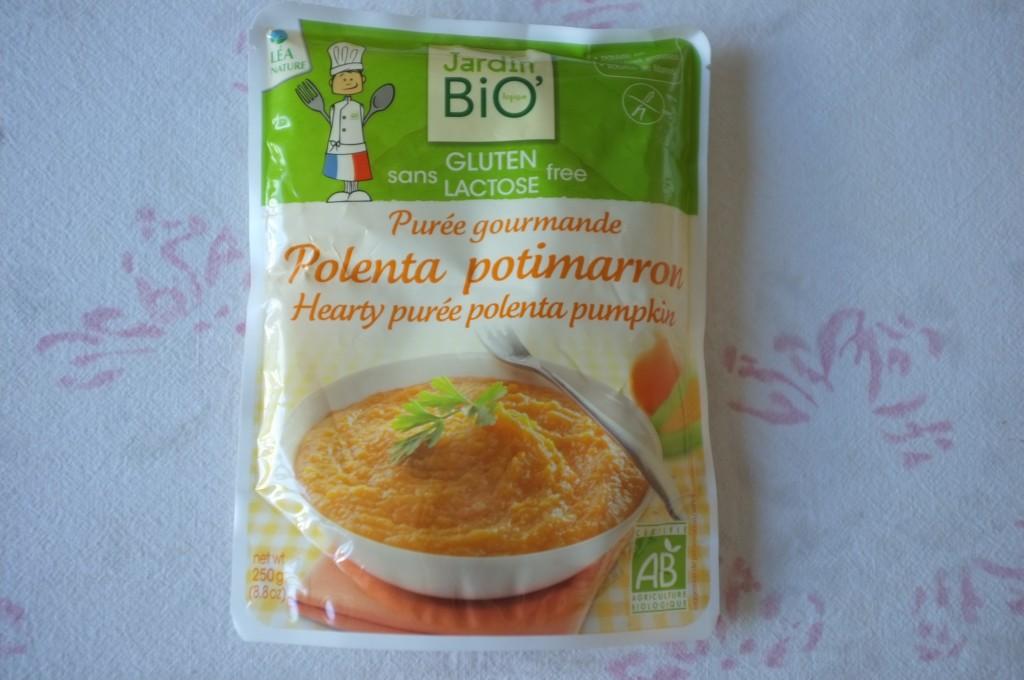 """Le plat préparé """"polenta potimarron"""" de Jardin Bio pour un déjeuner sur le pouce."""