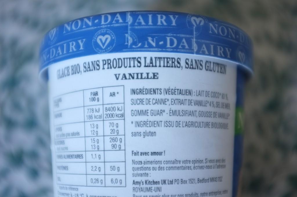 J'ai choisi la glace vanille de Amys' Kitchen: sans gluten, sans lactose et Bio