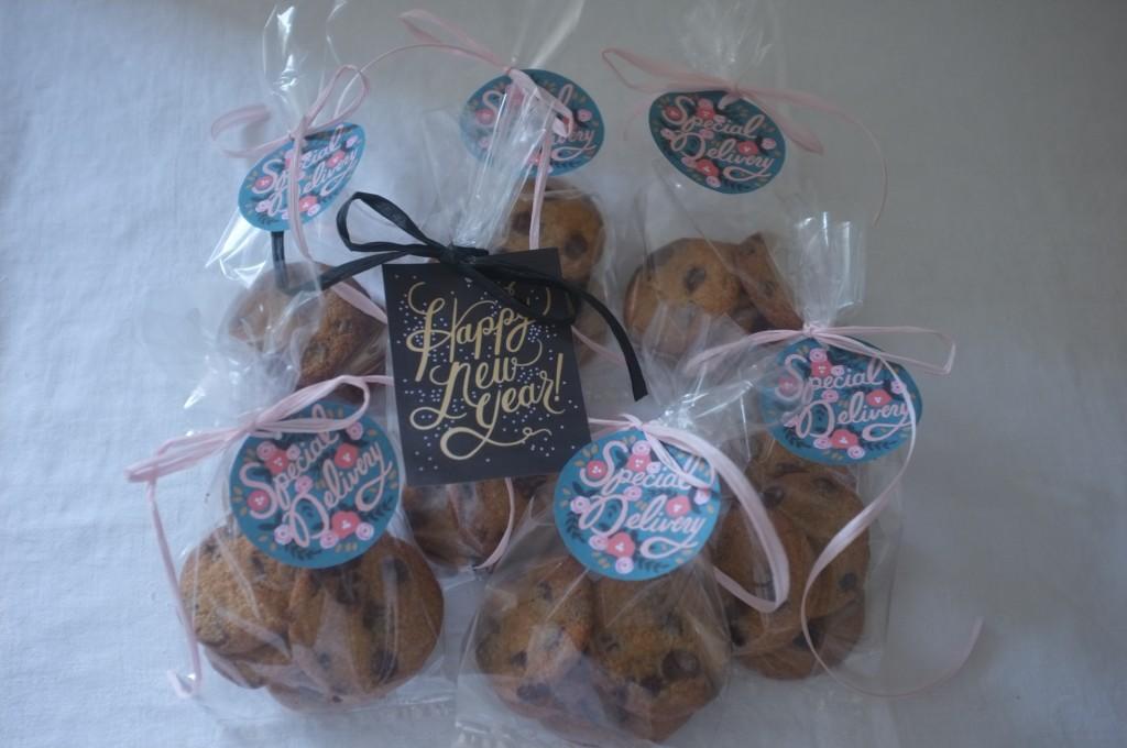 Les cookies sans gluten aux pépites de chocolat de William, avant d'être offert aux voisins pour la Nouvelle Année 2016.