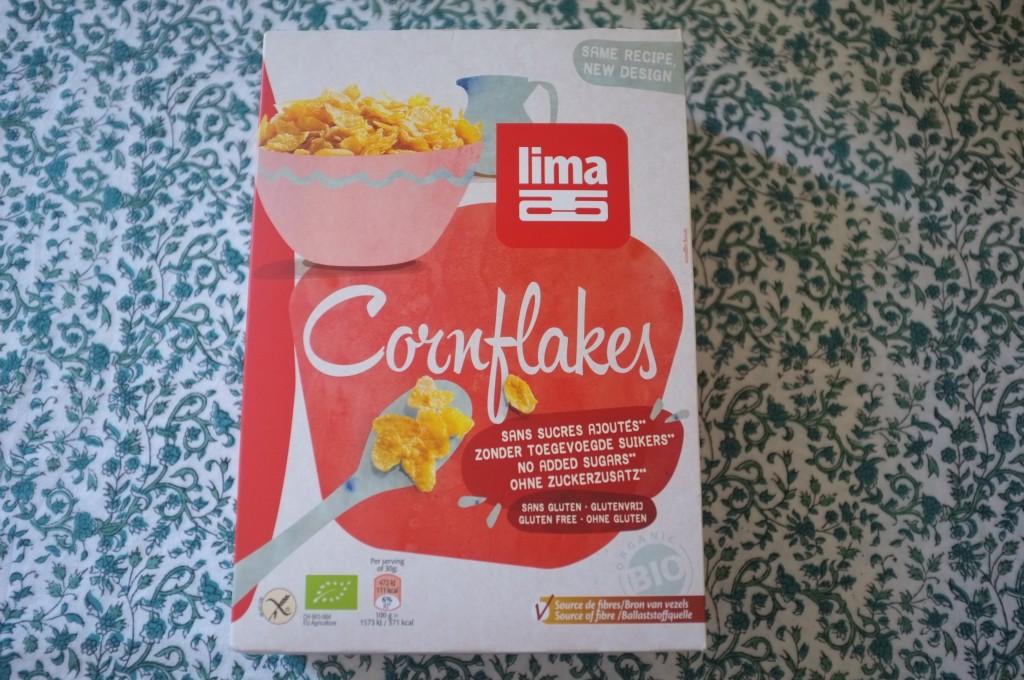 Les cornflakes Lima, certifiés sans gluten et sans sucre ajouté.