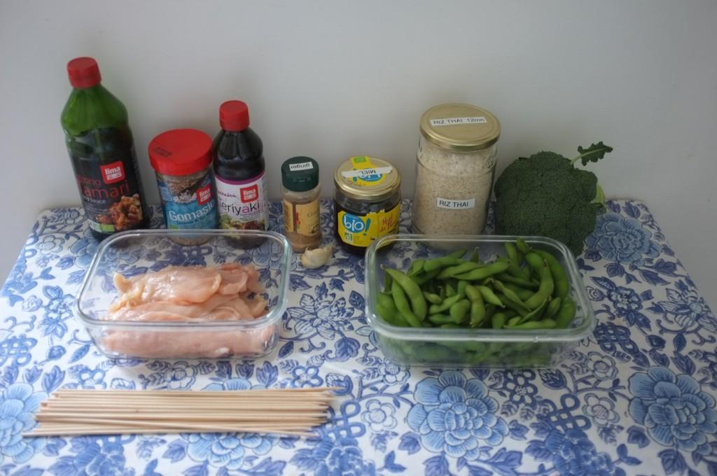 Les ingrédients sans gluten pour préparer le poulet Yakitori et notre petit diner japonais de Saint Valentin