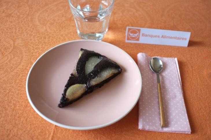 Recette sans gluten de gâteau poire chocolat pour la Banque Alimentaire