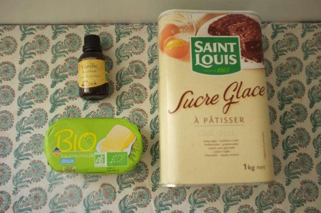 Les ingrédients sans gluten pour la crème au beurre.