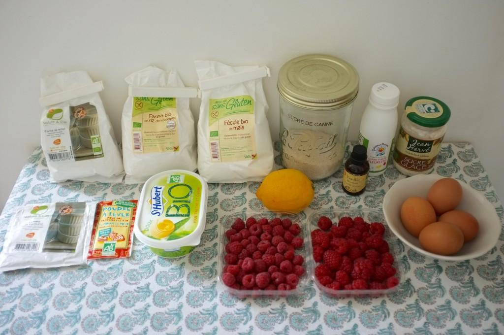 Les ingrédients sans gluten pour le gâteau 3 étages citron framboise