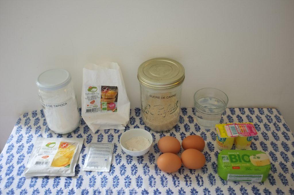 Les ingrédients sans gluten pour mes petites brioches