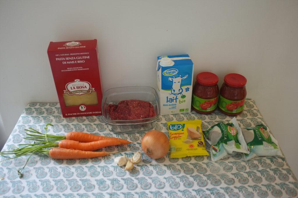 Les ingrédients sans gluten pour mes lasagnes