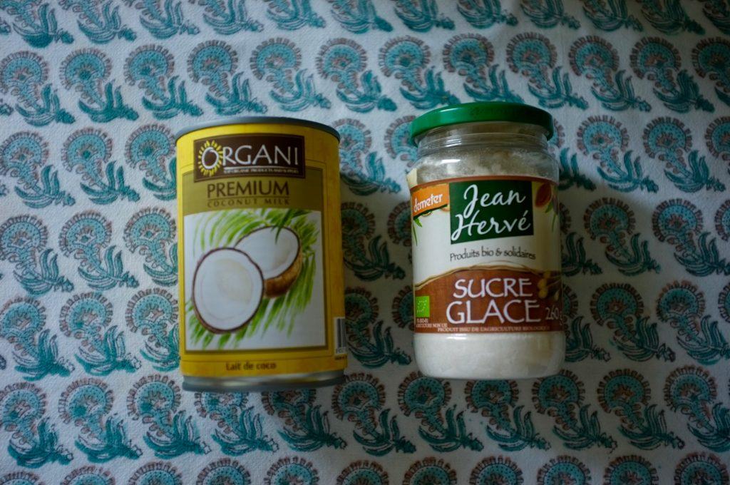 Les ingrédients sans gluten  ni lactose pour une crème fouettée