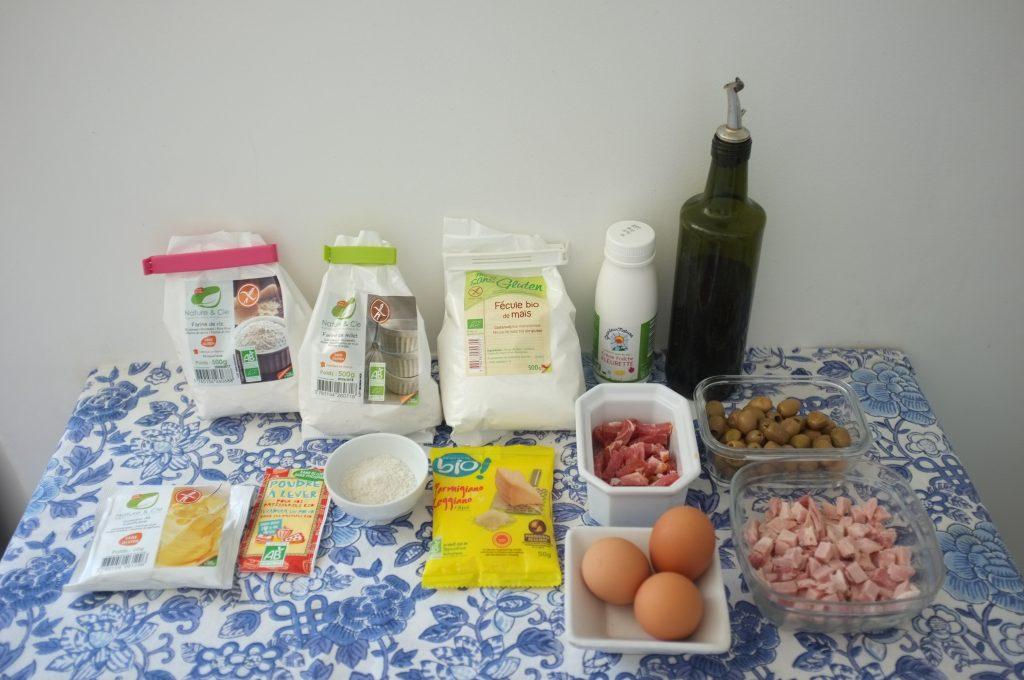 Les ingrédients sans gluten pour mon cake au jambon et aux olives
