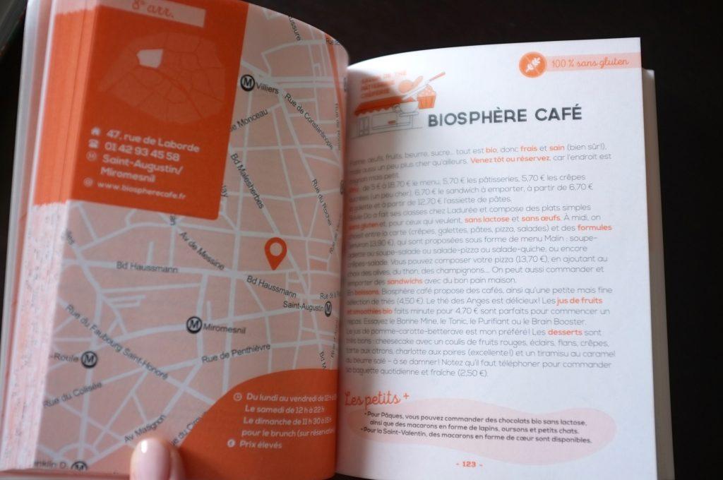 Paris sans gluten de Delphine Malachard des Reyssiers est pratique par son plan de la ville