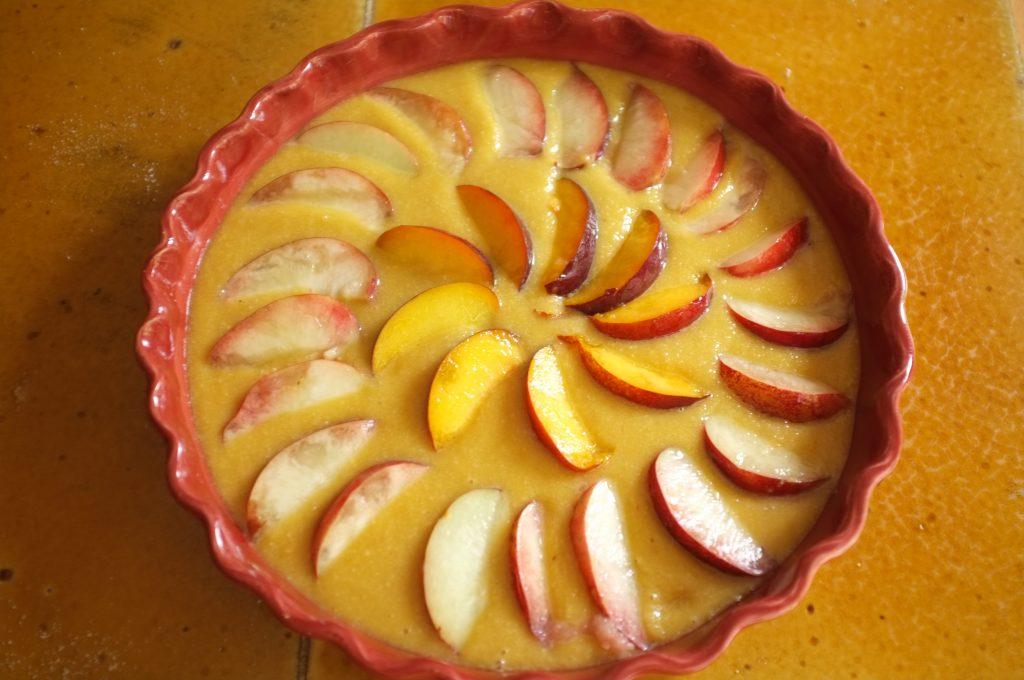 Le gâteau sans gluten amade et brugnon avant d'être enfourné