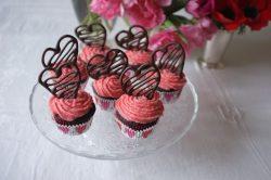 les cupcakes sans gluten chocolat framboise pour la St Valentin